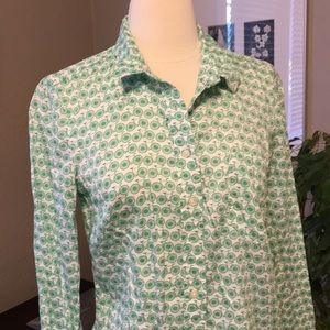 Gap Fitted Boyfriend Button Blouse Top Bike Green